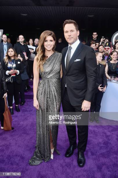 Katherine Schwarzenegger and Chris Pratt attend the Los Angeles World Premiere of Marvel Studios' Avengers Endgame at the Los Angeles Convention...