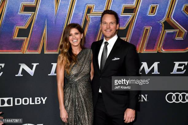 Katherine Schwarzenegger and Chris Pratt attend the World Premiere of Walt Disney Studios Motion Pictures Avengers Endgame at Los Angeles Convention...