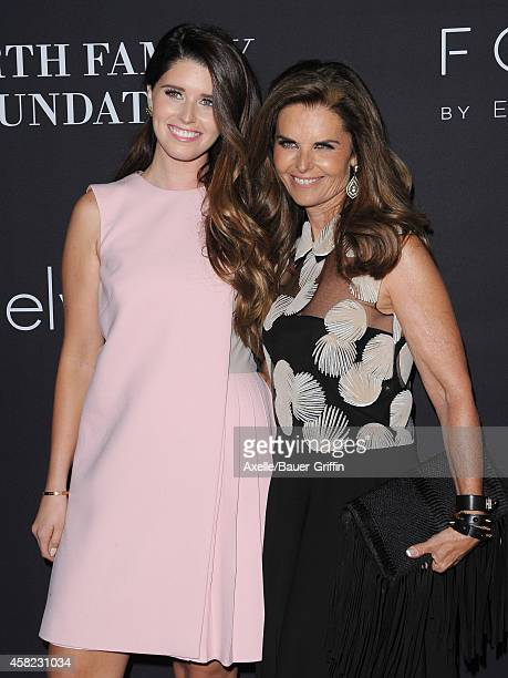 Katherine Schwarzenegger and journalist/author Maria Shriver arrive at the 10th Annual Pink Party held at Santa Monica Airport on October 18, 2014 in...