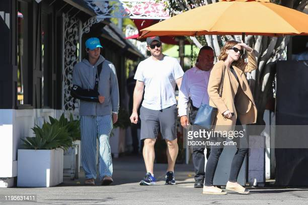 Katherine Schwarzenegger Chris Pratt and Patrick Schwarzenegger are seen on January 23 2020 in Los Angeles California