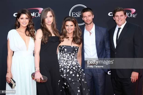 Katherine Schwarzenegger, Christina Schwarzenegger, Maria Shriver, Patrick Schwarzenegger and Christopher Schwarzenegger attend The 2017 ESPYS at...