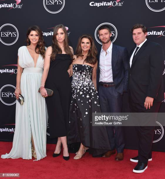 Katherine Schwarzenegger Christina Schwarzenegger Maria Shriver Patrick Schwarzenegger and Christopher Schwarzenegger arrive at the 2017 ESPYS at...