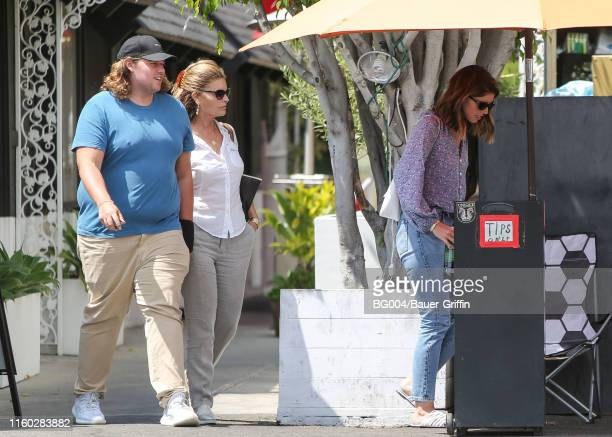 Katherine Schwarzenegger, her brother, Christopher and her mother, Maria Shriver are seen on August 07, 2019 in Los Angeles, California.