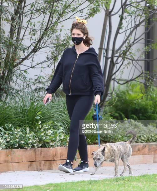 Katherine Schwarzenegger is seen walking her dog on May 28, 2020 in Los Angeles, California. Schwarzenegger is pregnant with her first child.