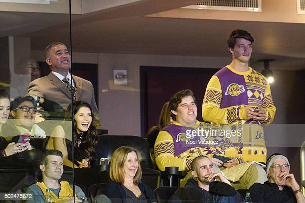 Katherine Schwarzenegger Patrick Schwarzenegger and Christopher Schwarzenegger attend a basketball game between the Los Angeles Clippers and the Los...