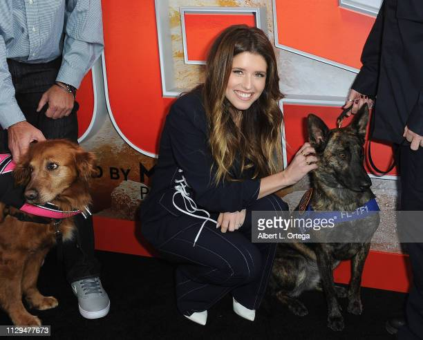 Katherine Schwarzenegger, Pedigree Brand Ambassador, poses with Halo at for Cosmic Picture's Superpower Dogs held at California Science Center on...
