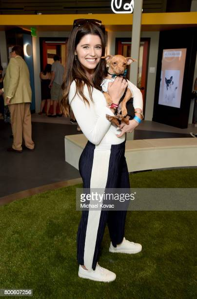 Katherine Schwarzenegger with Tuna the dog at the grand opening of The Wallis Annenberg PetSpace on June 24 2017 in Playa Vista California