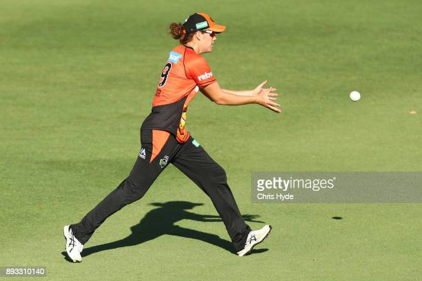 Katherine Scriver of the Scorchers fields during the Women's Big Bash League match between the Brisbane Heat and the Perth Scorchers at Allan Border...