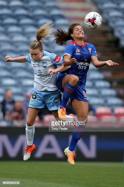 Katherine Stengel of the Jets and Emily Sonnett of Sydney FC contest the ball during the round two WLeague match between the Newcastle Jets and...