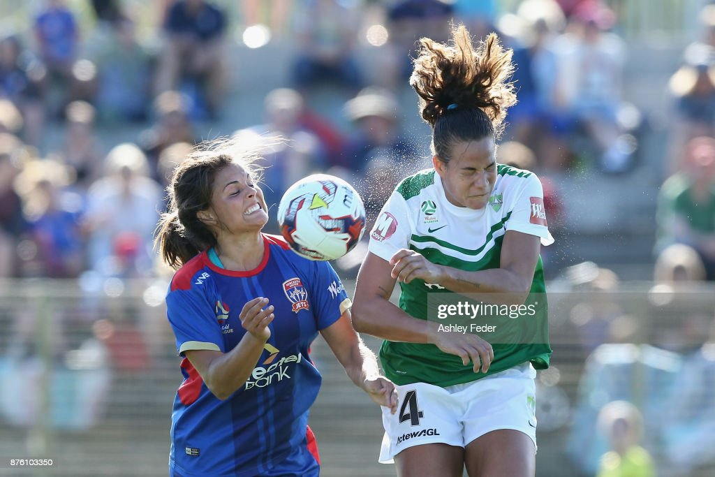 Katherine Stengel of the Jets contests the header against Toni Pressley of Canberra United during the round four W-League match between Newcastle and Canberra on November 19, 2017 in Newcastle, Australia.