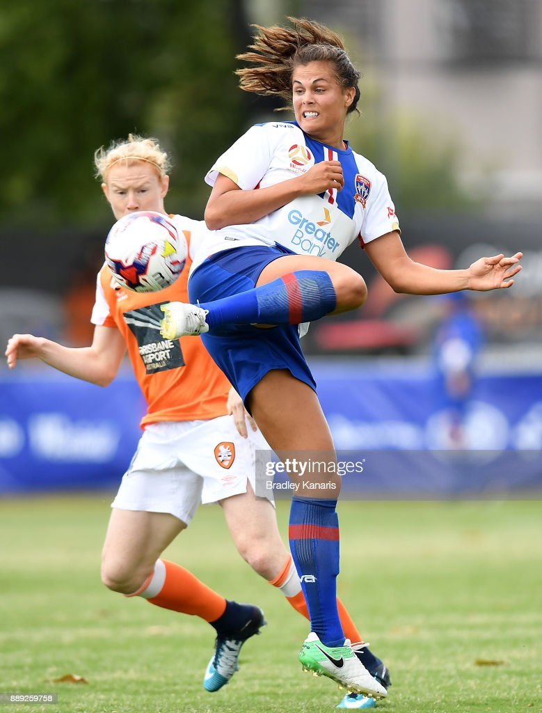 Katherine Stengel of the Jets in action during the round seven W-League match between the Brisbane Roar and the Newcastle jets at AJ Kelly Reserve on December 10, 2017 in Brisbane, Australia.