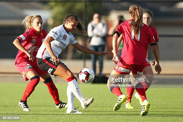 Katherine Stengel of Western Sydney wins the ball during the round 12 WLeague match between Adelaide United and the Western Sydney Wanderers at Elite...