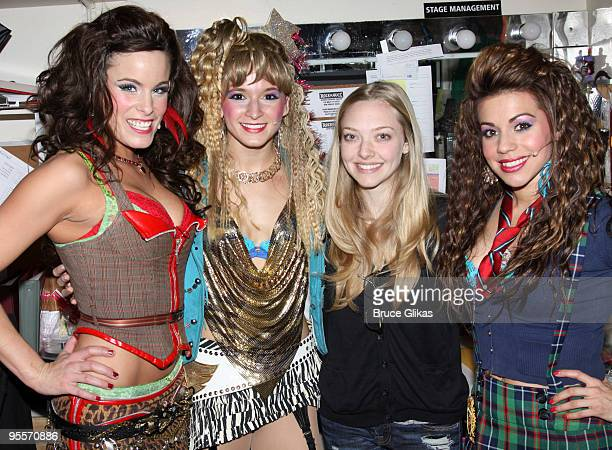 Katherine Tokarz Emily Padgett Amanda Seyfried and Angel Reed pose backstage at the hit rock musical Rock of Ages on Broadway at The Brooks Atkinson...