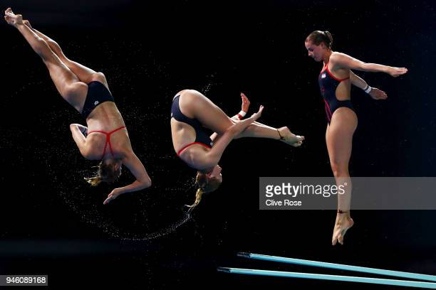 Katherine Torrance of England competes in the Women's 3m Springboard Diving Final on day 10 of the Gold Coast 2018 Commonwealth Games at Optus...