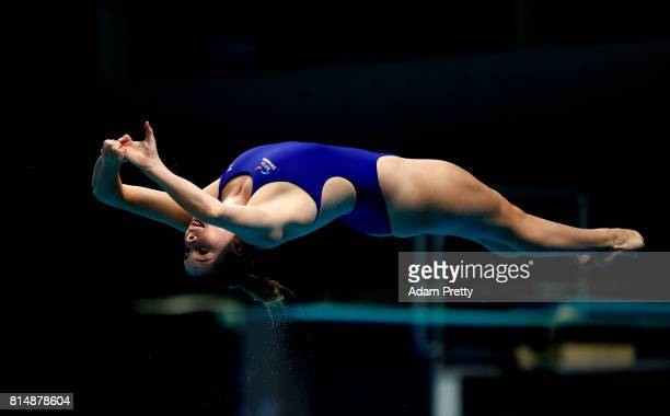 Katherine Torrance of Great Britain competes during the Womens Diving 1m Springboard Final on day two of the Budapest 2017 FINA World Championships...