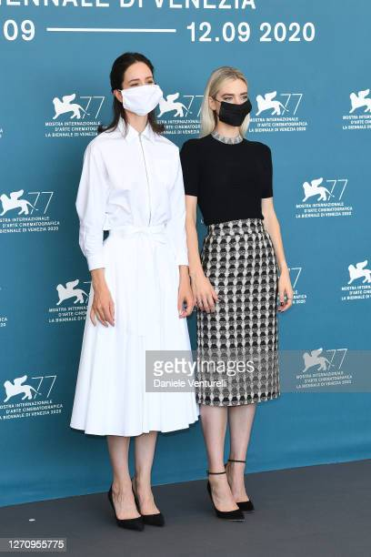 Katherine Waterston and Vanessa Kirby attend the photocall of the movie The World To Come at the 77th Venice Film Festival on September 06 2020 in...