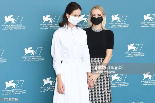 """Katherine Waterston and Vanessa Kirby attend the photocall of the movie """"The World To Come"""" at the 77th Venice Film Festival on September 06, 2020 in..."""