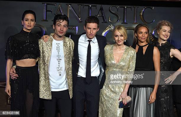 "Katherine Waterston, Ezra Miller, Eddie Redmayne, J. K. Rowling, Carmen Ejogo and Alison Sudol attend the European premiere of ""Fantastic Beasts And..."