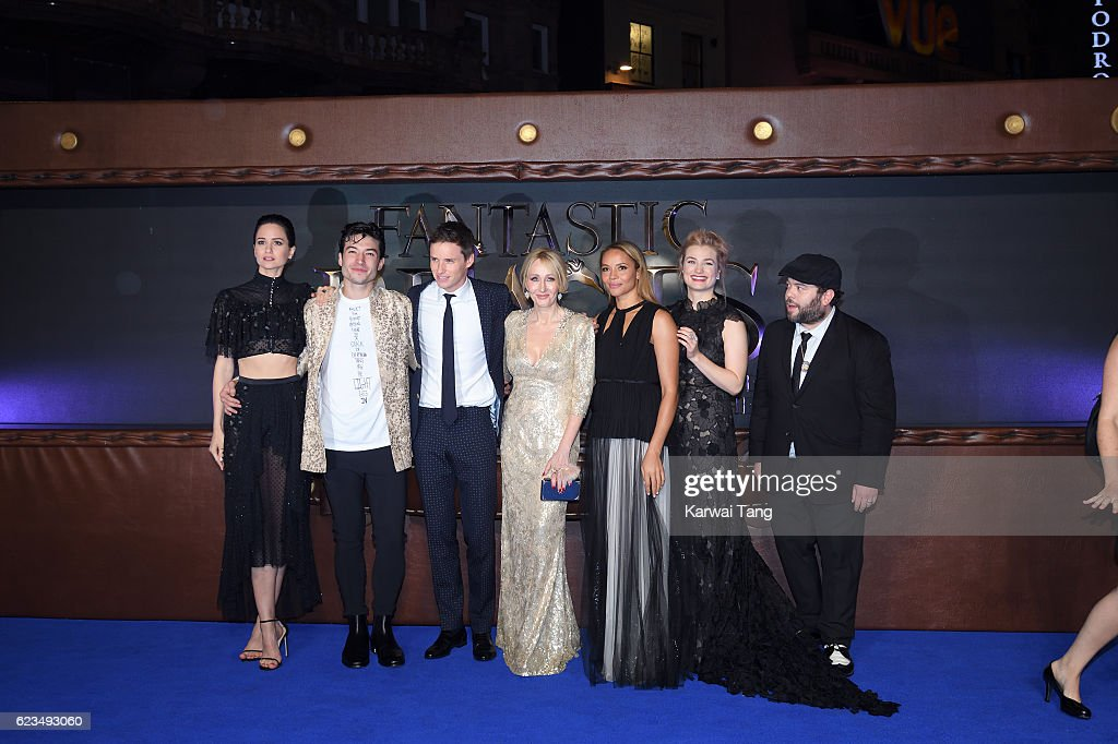 Katherine Waterston, Ezra Miller, Eddie Redmayne, J. K. Rowling, Carmen Ejogo, Alison Sudol and Dan Fogler attend the European premiere of 'Fantastic Beasts And Where To Find Them' at Odeon Leicester Square on November 15, 2016 in London, England.