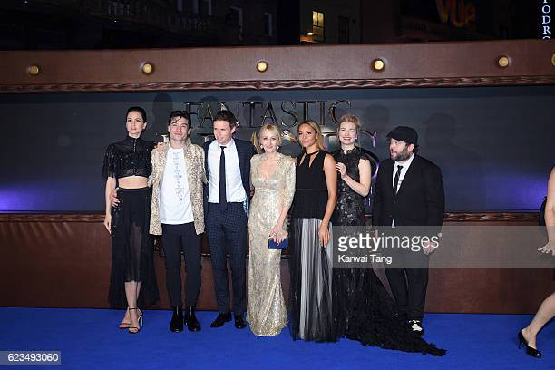 Katherine Waterston Ezra Miller Eddie Redmayne J K Rowling Carmen Ejogo Alison Sudol and Dan Fogler attend the European premiere of 'Fantastic Beasts...