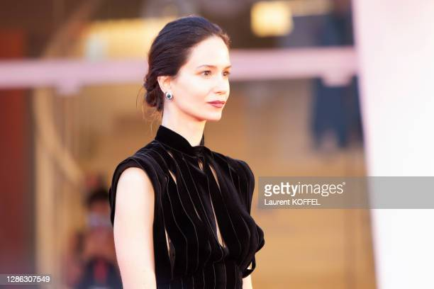 """Katherine Waterston walks the red carpet ahead of the movie """"The World To Come"""" at the 77th Venice Film Festival on September 06, 2020 in Venice,..."""