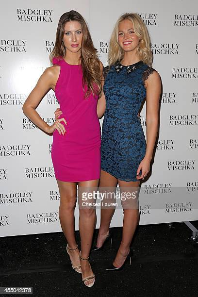 Katherine Webb and Erin Heatherton backstage at the Badgley Mischka fashion show during MercedesBenz Fashion Week Spring 2015 at The Theatre at...