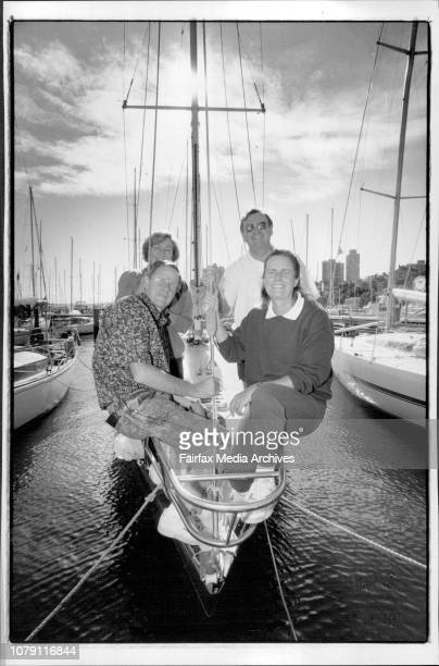 Katherine Wicks Sailing The Crew of Dow Air at the CYCLeft to right Grace Wilson Lex Wilson Elizabeth Carpenter and Jim Carpenter May 19 1991