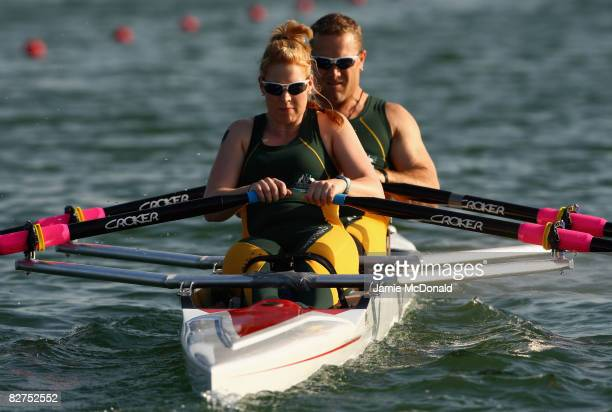 Katheryn Ross and John Maclean of Australia competes in the Mixed Double Sculls -TA- Rowing event at Shunyi Olympic Rowing-Canoeing Park during day...