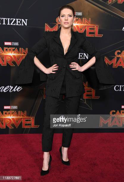 Katheryn Winnick attends Marvel Studios Captain Marvel Premiere on March 04 2019 in Hollywood California