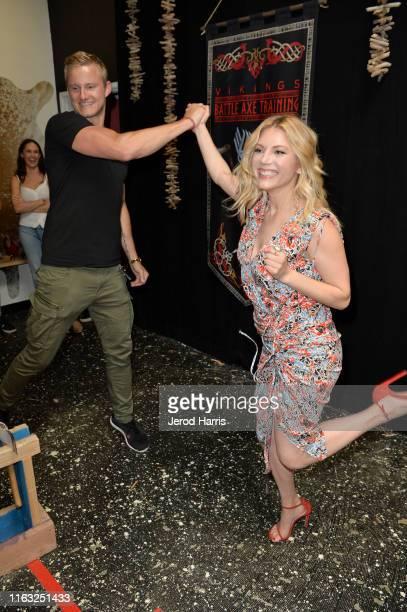 Katheryn Winnick attends Vikings Battle Axe Training at San Diego Comic-Con 2019 on July 20, 2019 in San Diego, California.