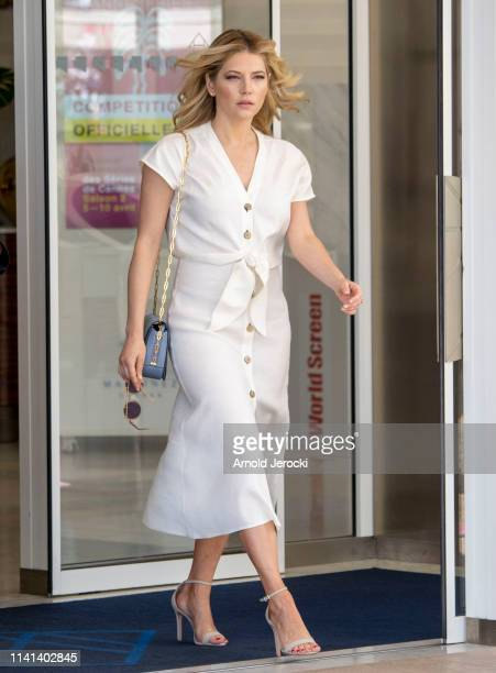 Katheryn Winnick leaves her hotel on day five of the 2nd Canneseries International Series Festival on April 09 2019 in Cannes France