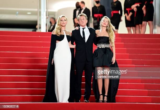 """Katheryn Winnick, Sean Penn and Dylan Penn attend the """"Flag Day"""" screening during the 74th annual Cannes Film Festival on July 10, 2021 in Cannes,..."""