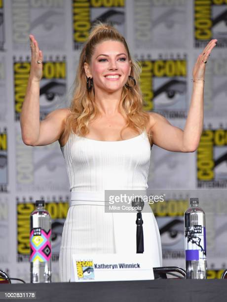 Katheryn Winnick speaks onstage at History's Vikings panel during ComicCon International 2018 at San Diego Convention Center on July 20 2018 in San...