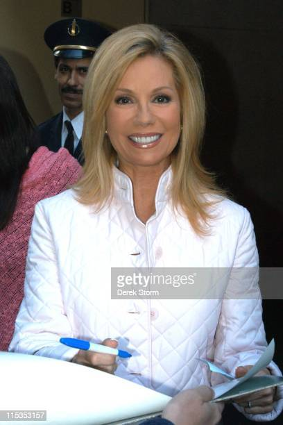 Kathie Lee Gifford during Kathie Lee Gifford and Morgan Spurlock Leave the Today Show Studio at Rockefeller Plaza in New York City New York United...