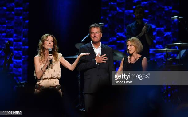 Kathie Lee Gifford speaks on stage with Michael W Smith and Deborah Kay Davis Smith during 35 Years of Friends Celebrating The Music Of Michael W...