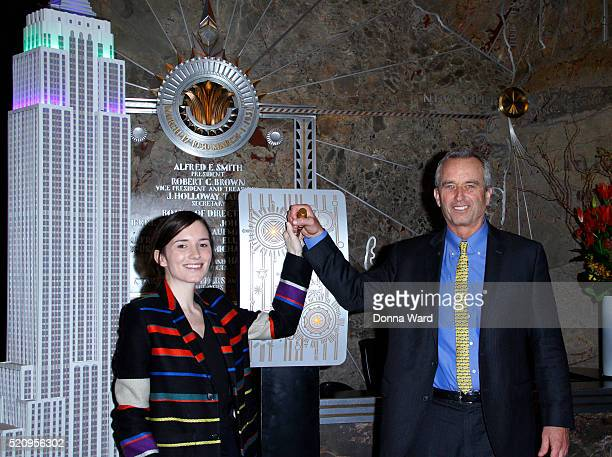 Kathleen Alexandra Kennedy and Robert F Kennedy Jr appear to light the Empire State Building in celebration of Riverkeeper's 50th Anniversary at The...