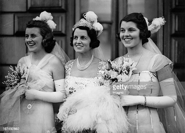 Kathleen and Rosemary Kennedy when leaving the Buckingham Palace. In the middle wife Rose Elizabeth Fitzgerald. Great Britain. Photograph. 1937....