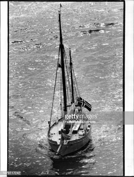 Kathleen Gillett appeared on Sydney Harbour yesterday a dream from the past of ghostgrey hull and scrubbedwhile beech deckingThe twomasted ketch...