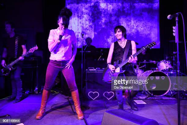 Kathleen Hanna and Joan Jett perform at the Celebration Of Music And Film during 2018 Sundance Film Festival at The Shop on January 20 2018 in Park...