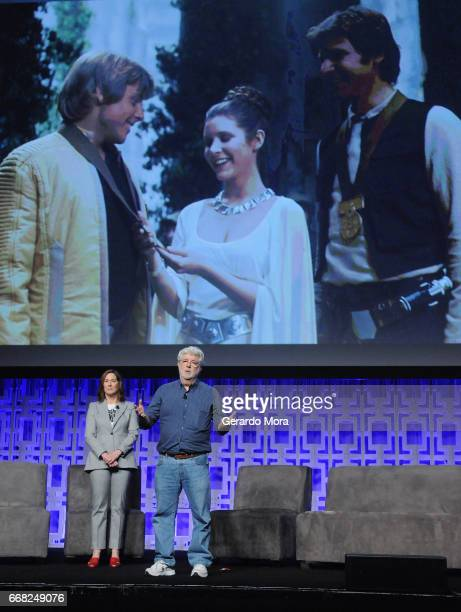 Kathleen Kennedy and George Lucas attend the 40 YEARS OF STAR WARS PANEL during the 2017 STAR WARS CELEBRATION at Orange County Convention Center on...