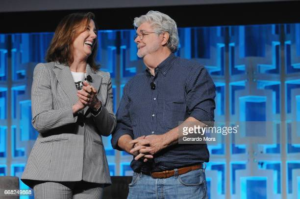 Kathleen Kennedy and George Lucas attend the 40 Years of Star Wars panel during the 2017 Star Wars Celebrationat Orange County Convention Center on...
