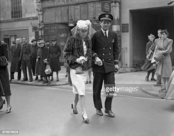Kathleen Kennedy and her brother Joseph Kennedy arriving for her wedding to William Cavendish Marquis of Hartington at Chelsea Register office London...