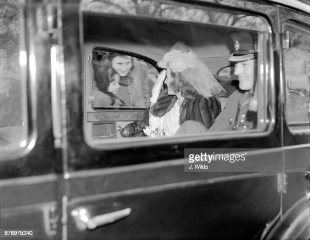 Kathleen Kennedy and her new husband William Cavendish Marquis of Hartington leaving Chelsea Register office after their wedding London 6th May 1944