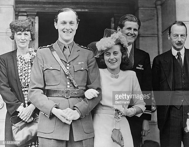 Kathleen Kennedy and the Marquess of Hartington smile happily at their wedding in London in 1944 A short time later the Marquess was killed in action...