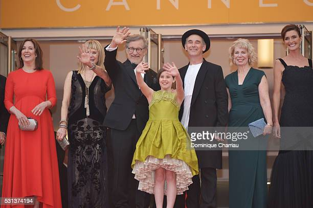 Kathleen Kennedy Kate Capshaw Steven Spielberg Ruby Barnhill Mark Rylance Claire van Kampen and Lucy Dahl attend The BFG premiere during the 69th...