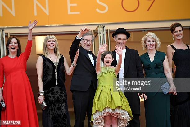 "Kathleen Kennedy, Kate Capshaw, Steven Spielberg, Ruby Barnhill, Mark Rylance, Claire van Kampen and Lucy Dahl attend ""The BFG "" premiere during the..."