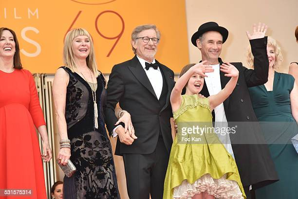 Kathleen Kennedy Kate Capshaw Steven Spielberg Ruby Barnhill Mark Rylance Claire van Kampen and Lucy Dahl attend 'The BFG ' premiere during the 69th...