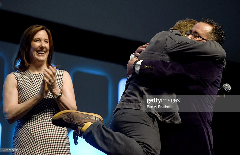 Kathleen Kennedy, Rian Johnson, director of Star Wars Episode VIII, and Pablo Hidalgo on stage during Future Directors Panel at the Star Wars Celebration 2016 at ExCel on July 17, 2016 in London, England.