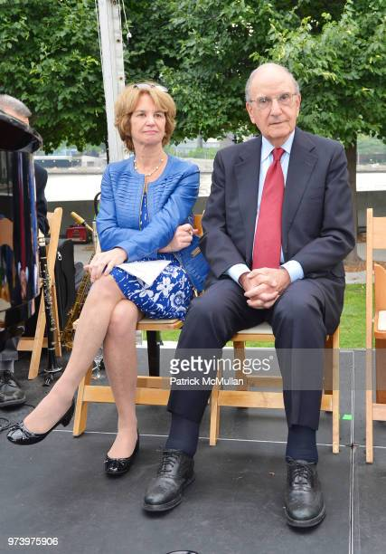 Kathleen Kennedy Townsend and George J Mitchell appear onstage during the Franklin D Roosevelt Four Freedoms Park's gala honoring Founder Ambassador...