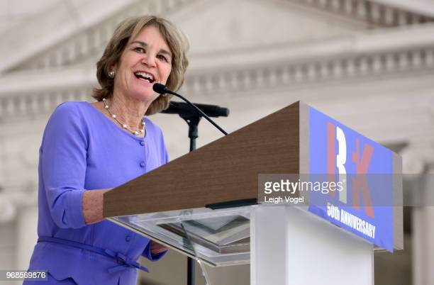 Kathleen Kennedy Townsend delivers opening remarks during a Remembrance and Celebration of the Life Enduring Legacy of Robert F Kennedy event taking...
